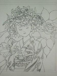 素描をもとに図案を描きます